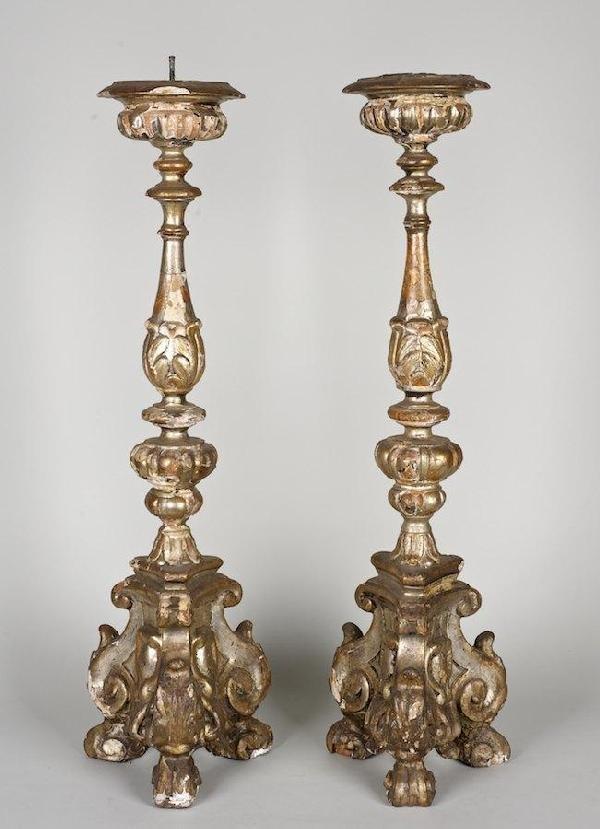 3004: Pair Italian Baroque silvered wood pricket sticks