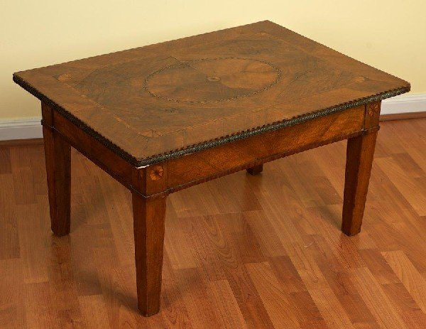 3005: Continental Neoclassical inlaid walnut low table