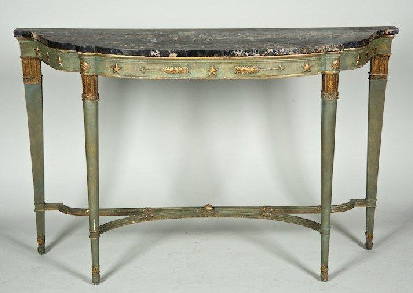 3007: Italian Neoclassical style blue painted marble to