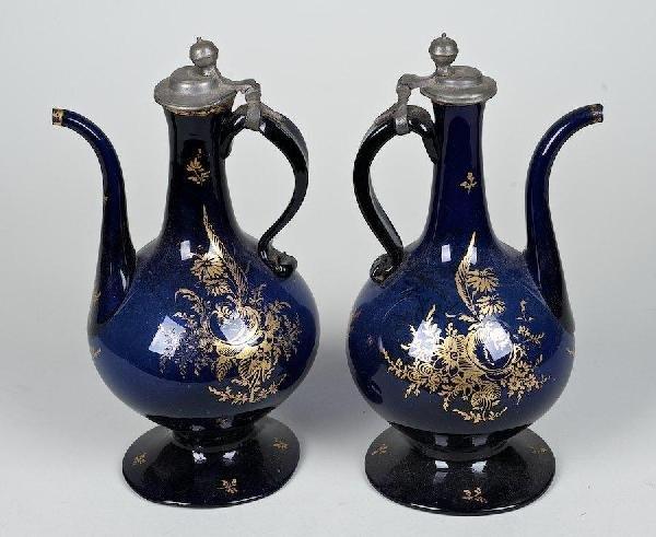 3008: Pair Italian gilt cobalt glass ewers, ex, Imbert