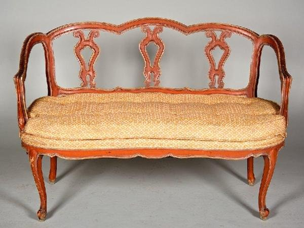 3009: Italian Rococo style red and cream painted settee