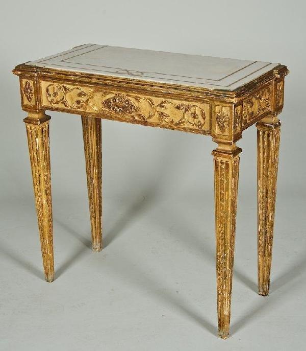3013: Antique Italian Neoclassical cream painted pier t