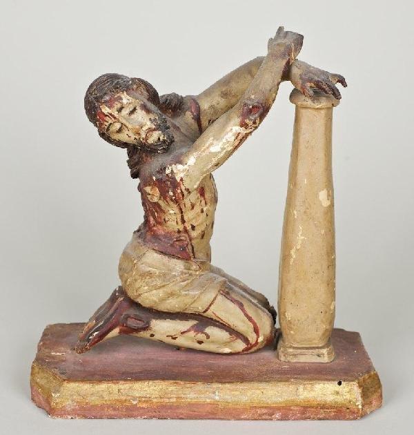 3018: Italian polychromed wood figure of flagellated Ch