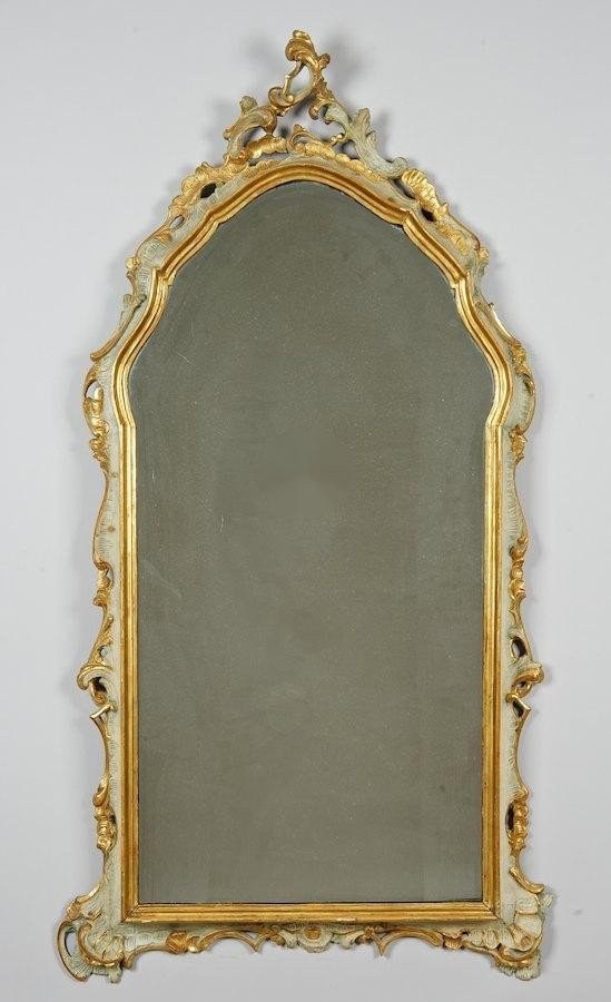 3022: Venetian Rococo green painted and gilt wall mirro