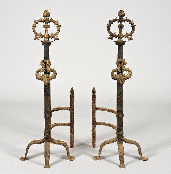 3099: Pair large Continental Baroque bronze, iron andir