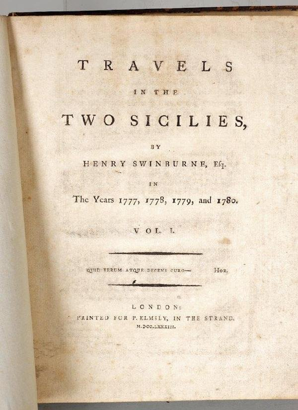 1001: Swinburne, Henry, Travels in the Two Sicilies