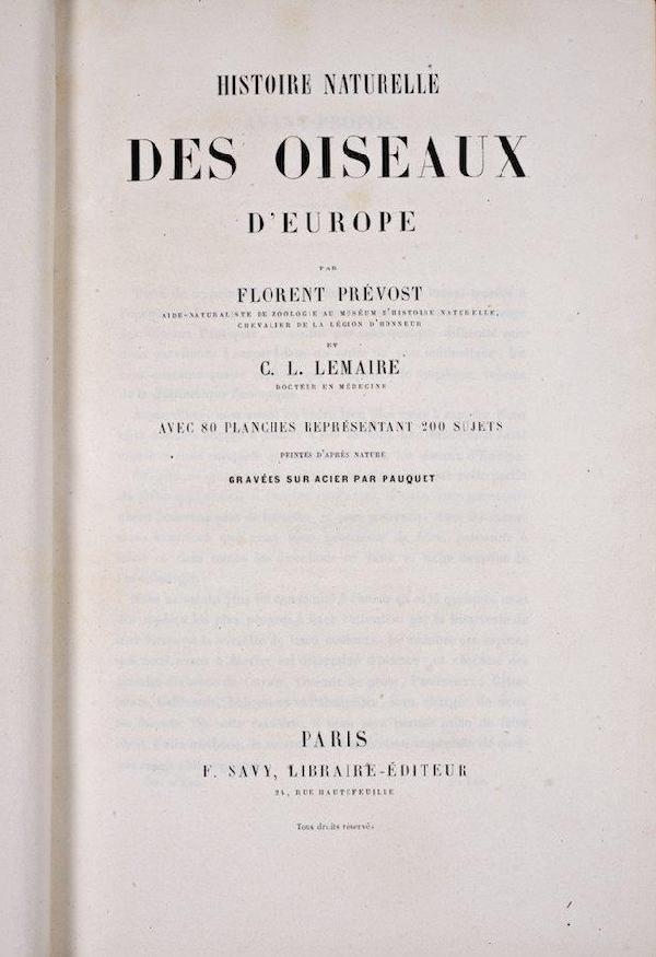 1089: Prevost, F. & Lemaire, C.L., Histoire Naturelle d