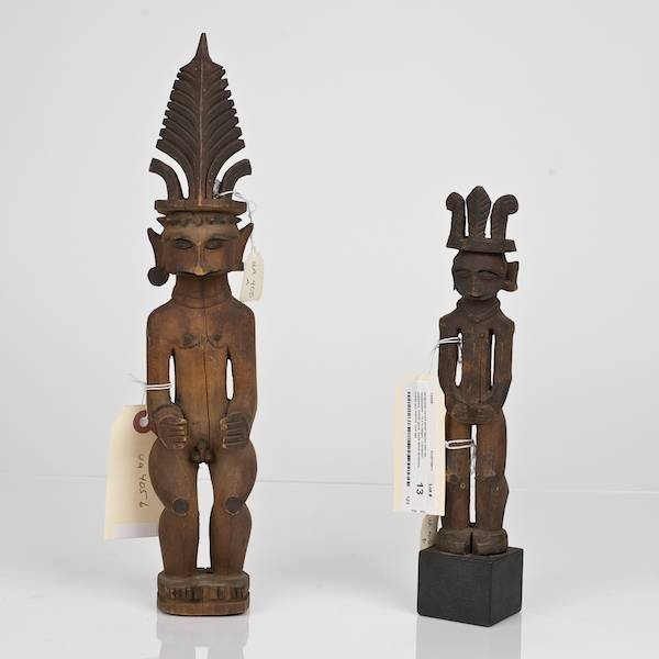 13: (2) African carved wood figures with tall headdress