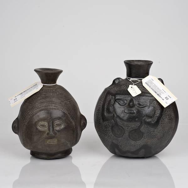 22: (2) Chimu-Inca blackware effigy bottles
