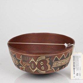 Large Nazca Polychromed Ceramic Bowl