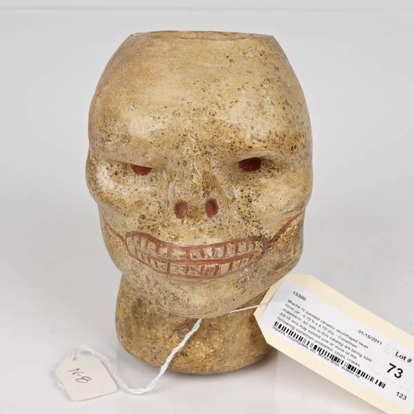 73: Moche IV polychromed ceramic skull form jar