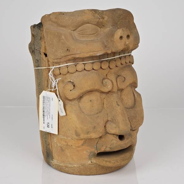 130: Large Pre-Columbian ceramic head fragment