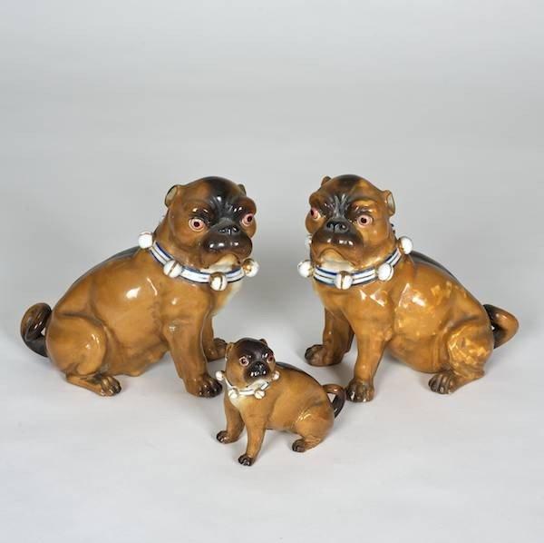 1002: Meissen style porcelain (3) piece Pug family