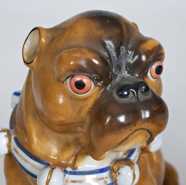 1002: Meissen style porcelain (3) piece Pug family - 3