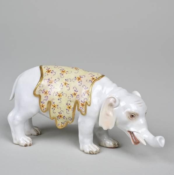 1004: Meissen model of a caparisoned elephant