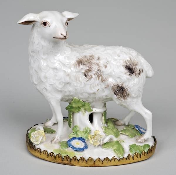 1012: Meissen bronze mounted porcelain model of a sheep