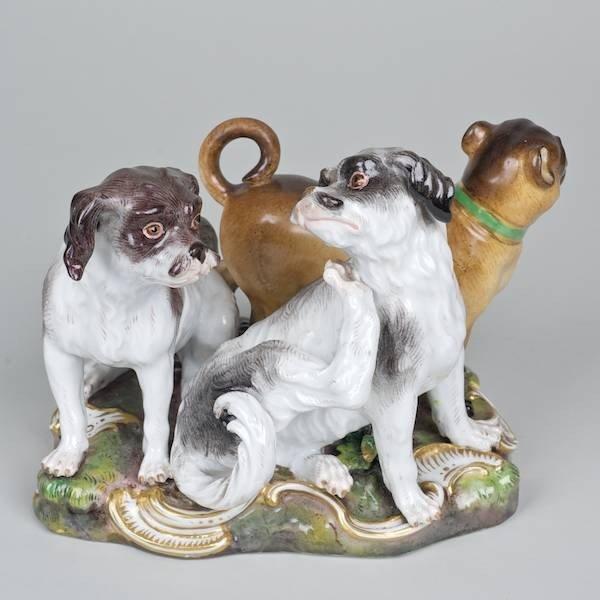 1020: Meissen porcelain Pug and Terrier dog group