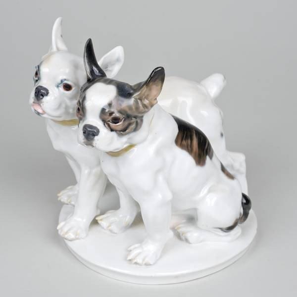 1021: Meissen porcelain French Bulldog dog group