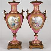 1202 Pair Sevres bronze mounted pink ground urnlamps