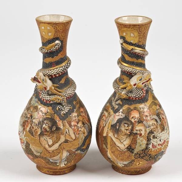 Pair satsuma dragon cabinet vases by choshuzan 1394 pair satsuma dragon cabinet vases by choshuzan reviewsmspy