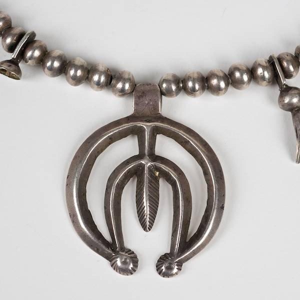 2002: Antique Navajo silver squash blossom necklace - 3