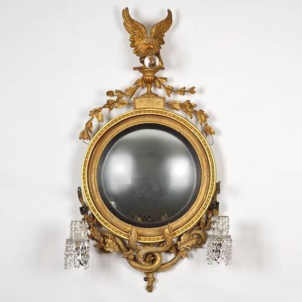 2004: Large Regency giltwood convex girandole mirror