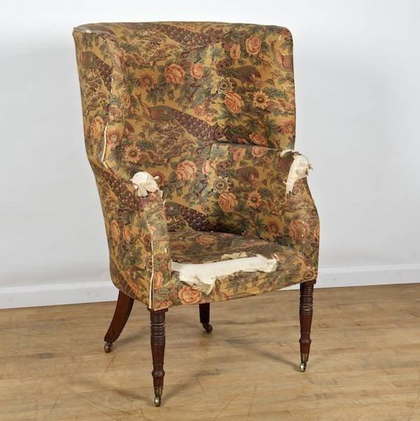 2006: Late Regency mahogany barrel back wing chair
