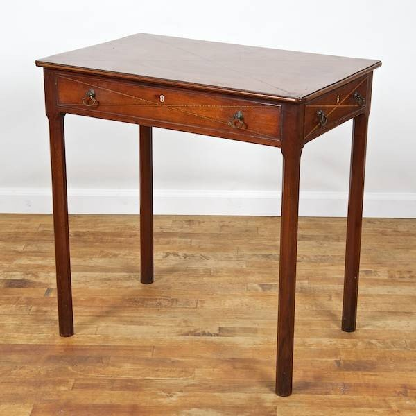 2017: George III mahogany side table with checkered inl