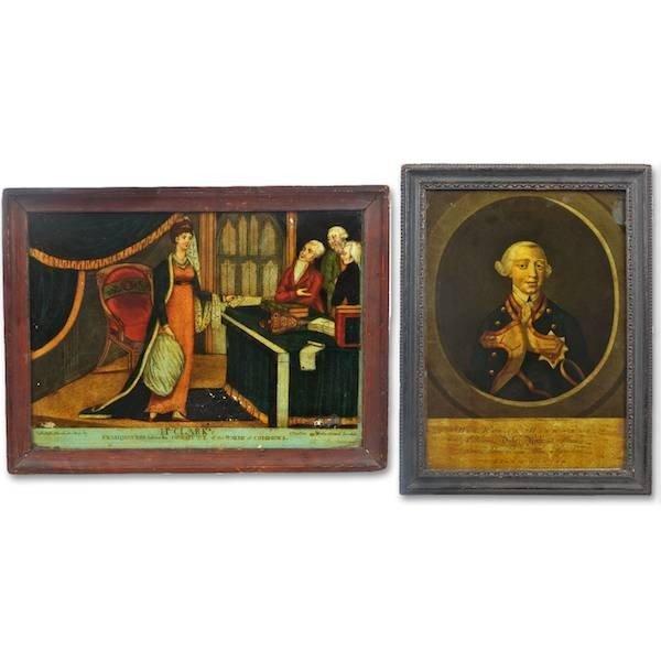 2018: (2) antique English reverse painted prints
