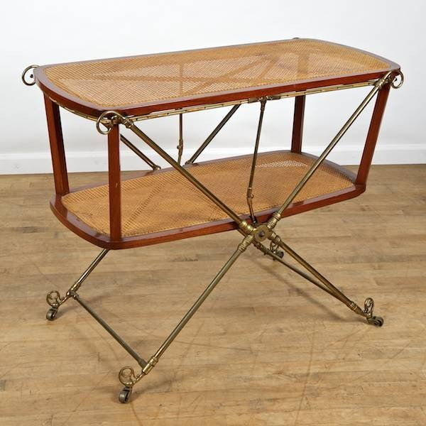 2023: Regency style brass and caned mahogany serving tr
