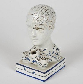 Bennington Pottery Phrenological Head Inkwell