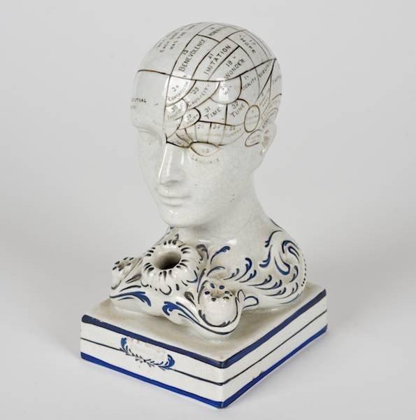 2075: Bennington pottery phrenological head inkwell
