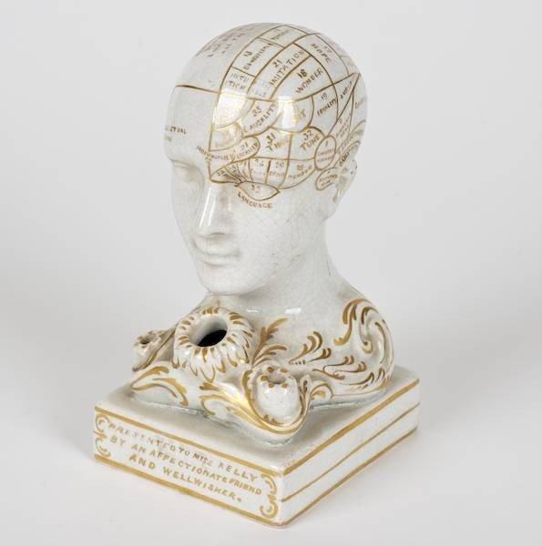 2076: Bennington pottery phrenological head inkwell