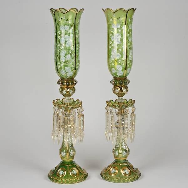 2077: Pair Victorian enameled green glass hurricane lus