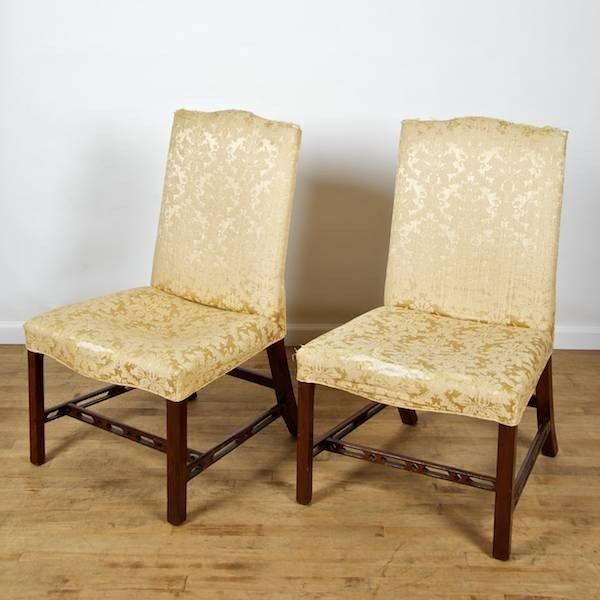2079: Pair Georgian mahogany serpentine side chairs
