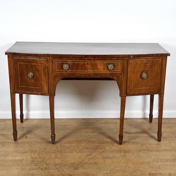 2083: George III mahogany inlaid bow front sideboard