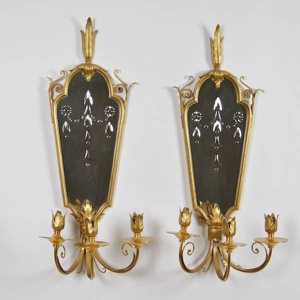 2084: Pair Neo-classical style gilt bronze girandole sc