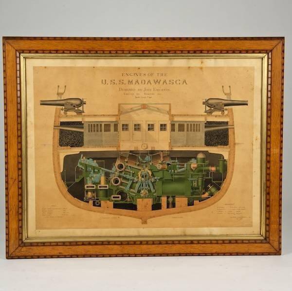 2092: Amazing watercolor schematic of the USS Madawaska
