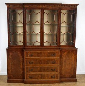 George III Style Mahogany Breakfront Bookcase