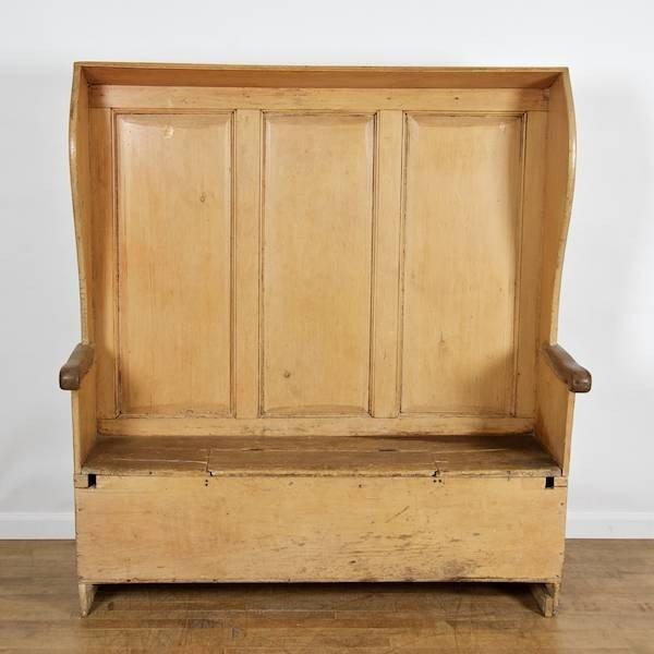 2163: George III provincial paneled pine hooded settle