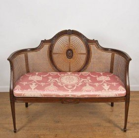 Victorian Mahogany Settee Manner Of Robert Adam