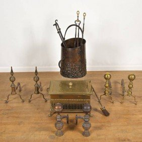 Group Antique Brass Hearth Furniture