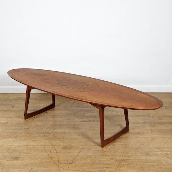Danish Modern teak surfboard coffee table by More