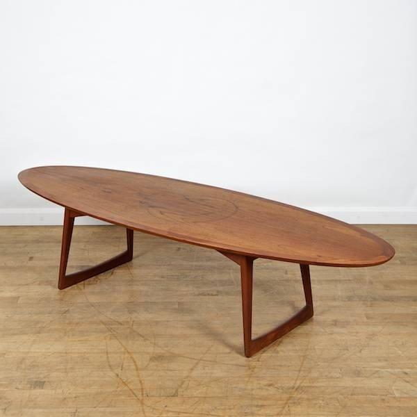 danish modern teak surfboard coffee table by more