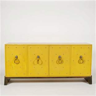2422: Studded yellow lacquer sideboard by Tommi Parzing
