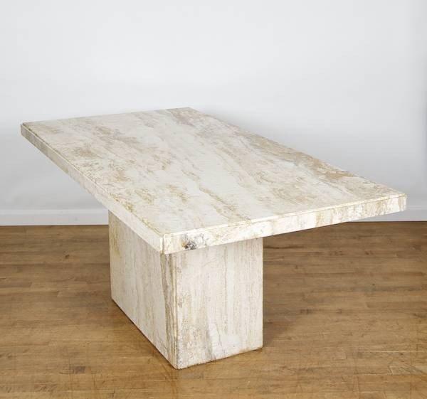 modernist italian travertine marble dining table