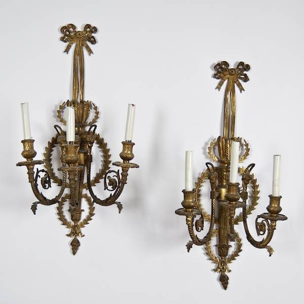 3008: Pair Louis XVI style gilt bronze wall sconces