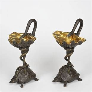 Pair bronze compotes in the manner of Fratin