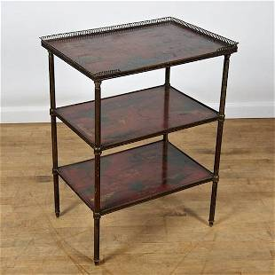 French bronze and red japanned 3-tier side table