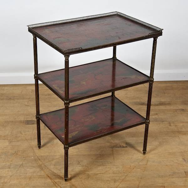 French bronze and red japanned 3 tier side table